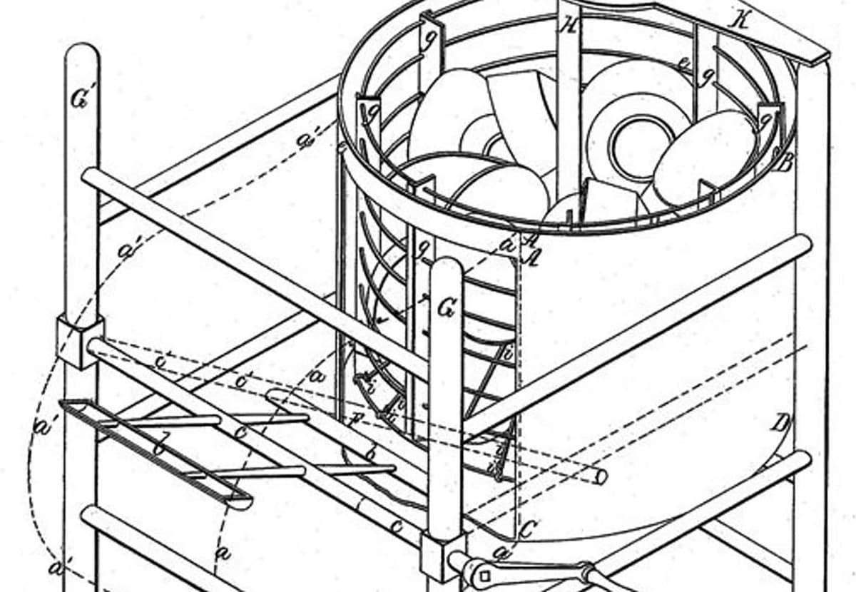 skica stroja za pomivanje posode