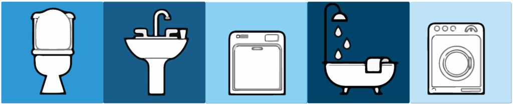 ikone wc kotliček, umivalnik, pomivalni stroj, kopalna kad in pralni stroj